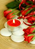 candle composition roses spa πέτρες στοκ φωτογραφία