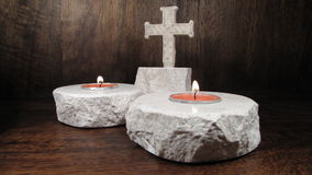 Candle and cross Stock Image
