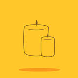Candle cute icon in trendy flat style isolated on color background.. Thanksgiving icon for internet use Royalty Free Stock Photography
