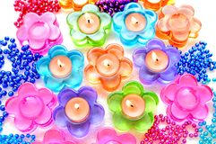 Candle Daisies Royalty Free Stock Images