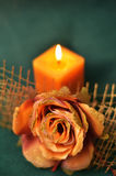 Candle in the dark . Royalty Free Stock Photos