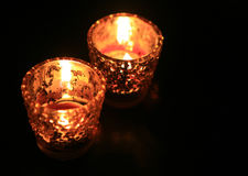 Candle in dark room Royalty Free Stock Images