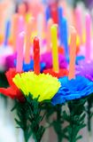 Candle decorate with paper flower,craft. Candle decorate with paper flower,thai festival stock photos