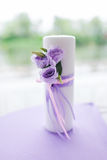 Candle decorated with flowers Royalty Free Stock Photos
