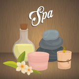 Candle and decoration. Spa center design. Vector graphic Royalty Free Stock Image