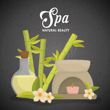 Candle and decoration. Spa center design. Vector graphic Stock Photo