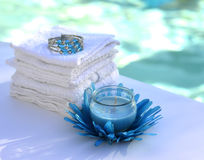 Candle decoration towel spa salon. Stock Photography