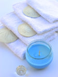 Candle decoration towel spa salon. Stock Photo