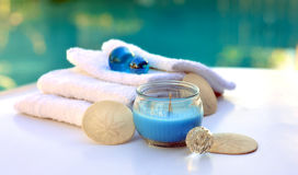 Candle decoration towel spa salon. Royalty Free Stock Image