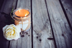 Candle in a decorative jar Royalty Free Stock Image