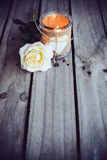 Candle in a decorative jar Stock Photos