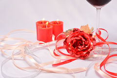Candle dinner background Stock Photo