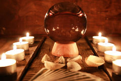 Candle divination tarot cards Stock Image
