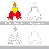 Candle. Drawing worksheet. Stock Images