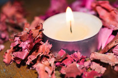 Candle with dry rose Royalty Free Stock Photography