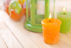 Candle and easter eggs Royalty Free Stock Images