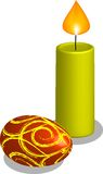 Candle and egg - easter. Candle and egg on white background Royalty Free Stock Photos