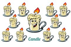 Candle emotions emoticons set  on white background. Comic book cartoon pop art illustration retro vector Royalty Free Stock Photos