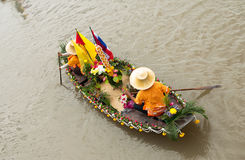 Candle Festival Lad Chado water. Activities in the way of life along the canal. Touch of Thailand Local culture is still preserved. In addition, have fleet of Royalty Free Stock Photos