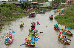 Candle Festival Lad Chado water. Activities in the way of life along the canal. Touch of Thailand Local culture is still preserved. In addition, have fleet of Royalty Free Stock Photo