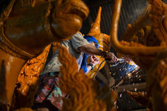 Candle festival 2017 in Thailand. Craftsman fix the candle on the candle float for candle festival in Ubon Ratchathani, Thailand on June 08, 2017 Royalty Free Stock Photography