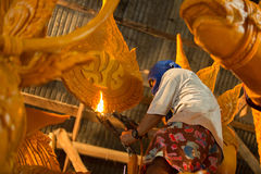 Candle festival 2017 in Thailand. Craftsman fix the candle on the candle float for candle festival in Ubon Ratchathani, Thailand on June 08, 2017 Royalty Free Stock Photos