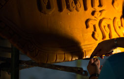 Candle festival 2017 in Thailand. Craftsman fix the candle on the candle float for candle festival in Ubon Ratchathani, Thailand on June 08, 2017 Stock Photo