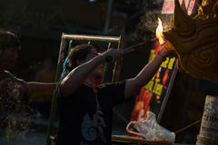 Candle festival 2017 in Thailand. Craftsman fix the candle on the candle float for candle festival in Ubon Ratchathani, Thailand on June 08, 2017 Stock Photography