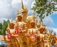 Candle Festival. UBON RATCHATHANI, THAILAND - July 12: The Candle are carved out of wax Royalty Free Stock Image
