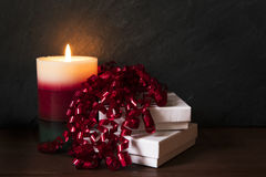 Candle and Festive Gift Stock Image