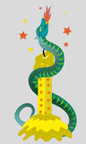 Candle and fiery snake. Illustration. vector Stock Photo