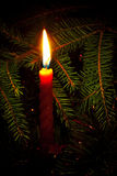 Candle on fir branches Royalty Free Stock Images