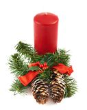 Candle and fir-tree branch composition Royalty Free Stock Images