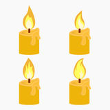 Candle with fire animation. On white background Flame vector illustration Royalty Free Stock Photography