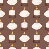 Candle vector aroma fire burn decoration seamless pattern background burning warm glowing spa shiny wax bright. Candle with fire aroma burn decoration seamless Royalty Free Stock Image