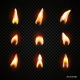 Candle fire flame isolated. Realistic candle bright flame decoration on black background. Candle fire flame isolated. Realistic candle bright flame decoration Royalty Free Stock Photography