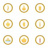 Candle fire icons set, cartoon style. Candle fire icons set. Cartoon style set of 9 candle fire vector icons for web design Stock Images