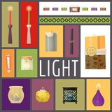 Candle fire vector illustration. Wax candles for xmas party, romantic heat candlelight flame and lit flaming nightlight royalty free illustration