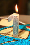 Candle for the first anniversary Stock Image
