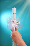 Candle for the first holy communion Royalty Free Stock Images