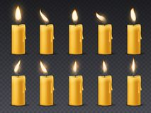 Candle flame animation. Animated candlelight romantic holiday wax burning candles close up warm fire dinner isolated. Vector set royalty free illustration