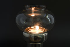 Candle flame in antique lamp Royalty Free Stock Images
