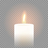 Candle flame burning 3D realistic vector transparent background. Candle flame burning on vector transparent background. 3D realistic isolated white scented Stock Photos