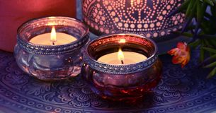 Candle flame burning stock footage
