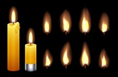 Free Candle Flame. Burning Wax Candles Lights And Flames. Fire Candlelight Isolated On Black Background. Vector Warm Lighting Stock Photo - 170603990