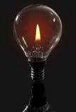 Candle flame light bulb Stock Photos