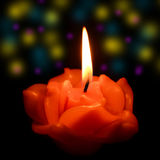 Candle flame at night closeup Royalty Free Stock Images