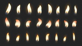 Free Candle Flame. Realistic Fire Light Effects For Birthday Cake Burning Candle. Vector Candlelight Set Isolated On Royalty Free Stock Photo - 155629305