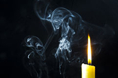Candle, Flame, Smoke. Stock Images