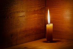 Candle, flame, wood. Stock Photo